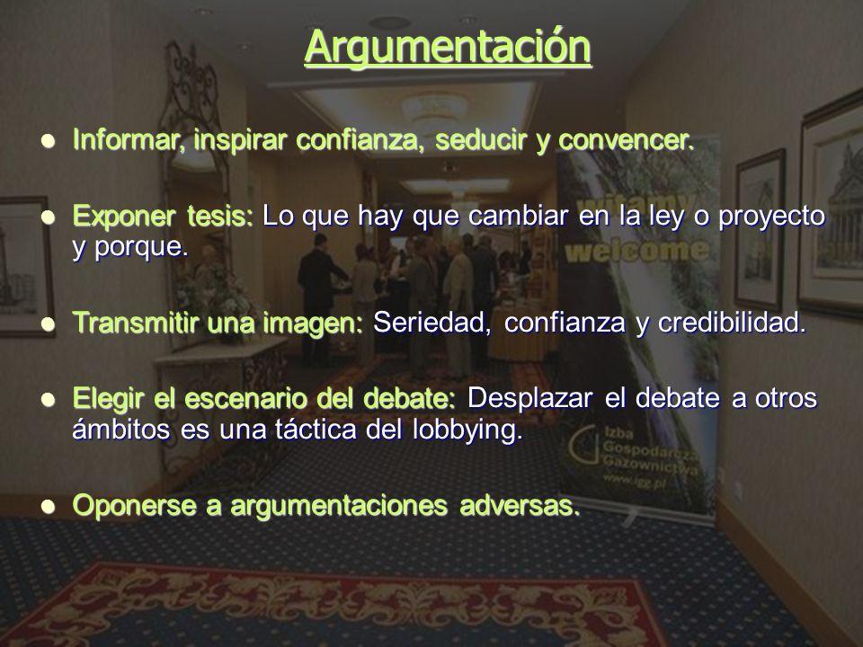 Argumentación Informar, inspirar confianza, seducir y convencer.