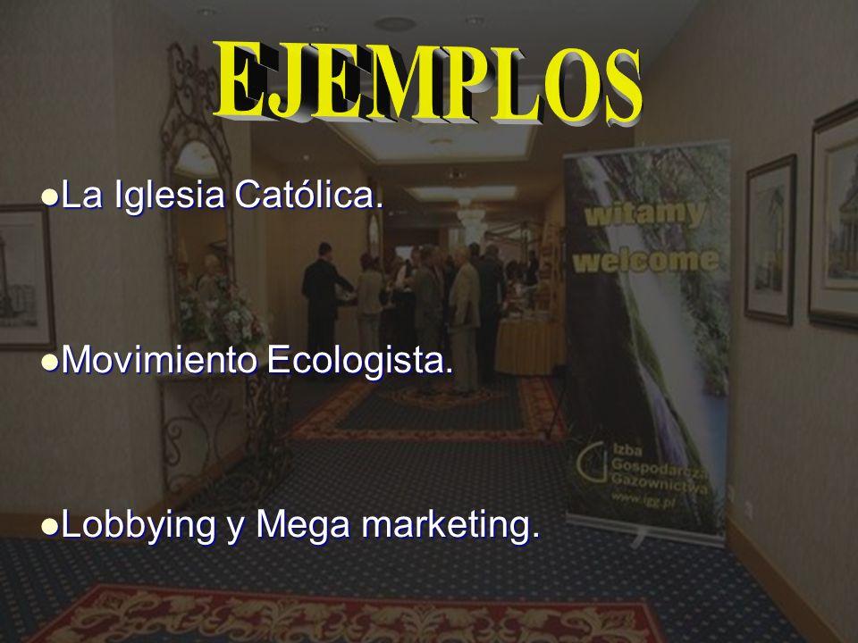 EJEMPLOS La Iglesia Católica. Movimiento Ecologista.