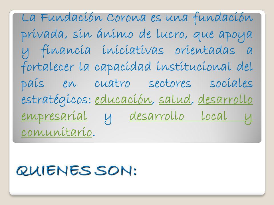 La Fundación Corona es una fundación privada, sin ánimo de lucro, que apoya y financia iniciativas orientadas a fortalecer la capacidad institucional del país en cuatro sectores sociales estratégicos: educación, salud, desarrollo empresarial y desarrollo local y comunitario.