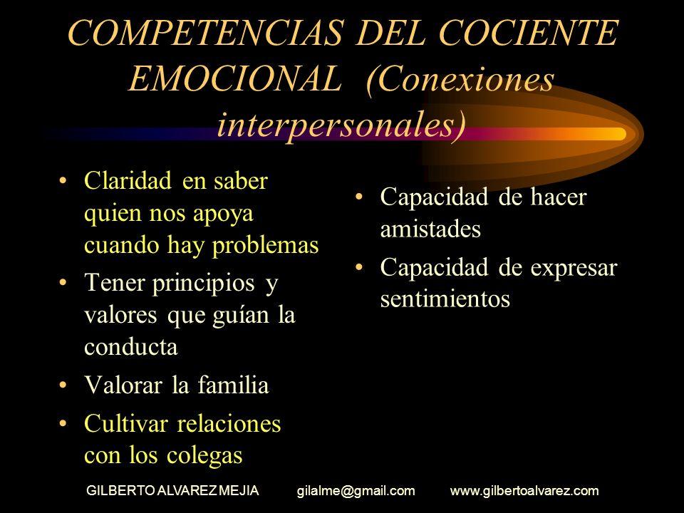 COMPETENCIAS DEL COCIENTE EMOCIONAL (Conexiones interpersonales)