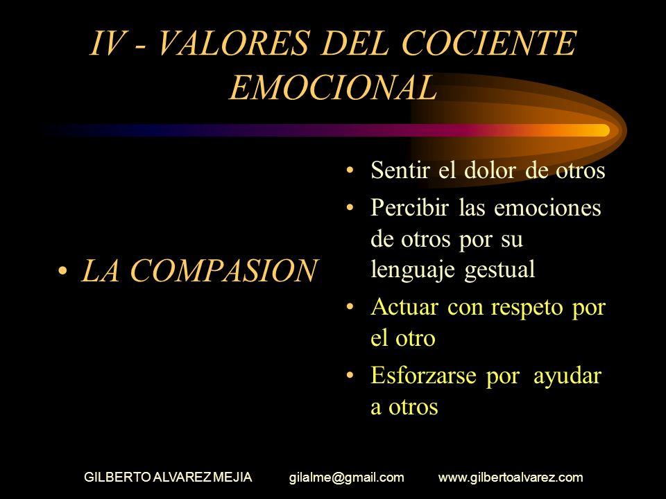 IV - VALORES DEL COCIENTE EMOCIONAL
