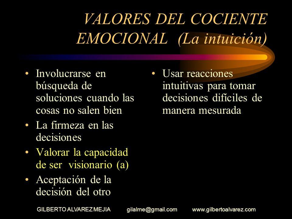 VALORES DEL COCIENTE EMOCIONAL (La intuición)