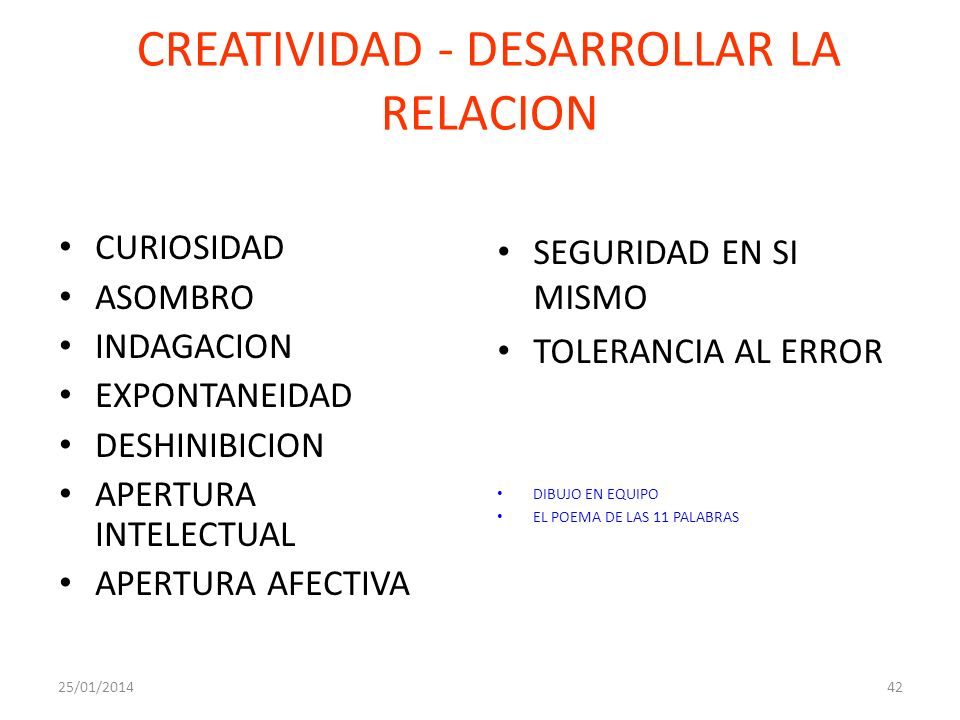 CREATIVIDAD - DESARROLLAR LA RELACION