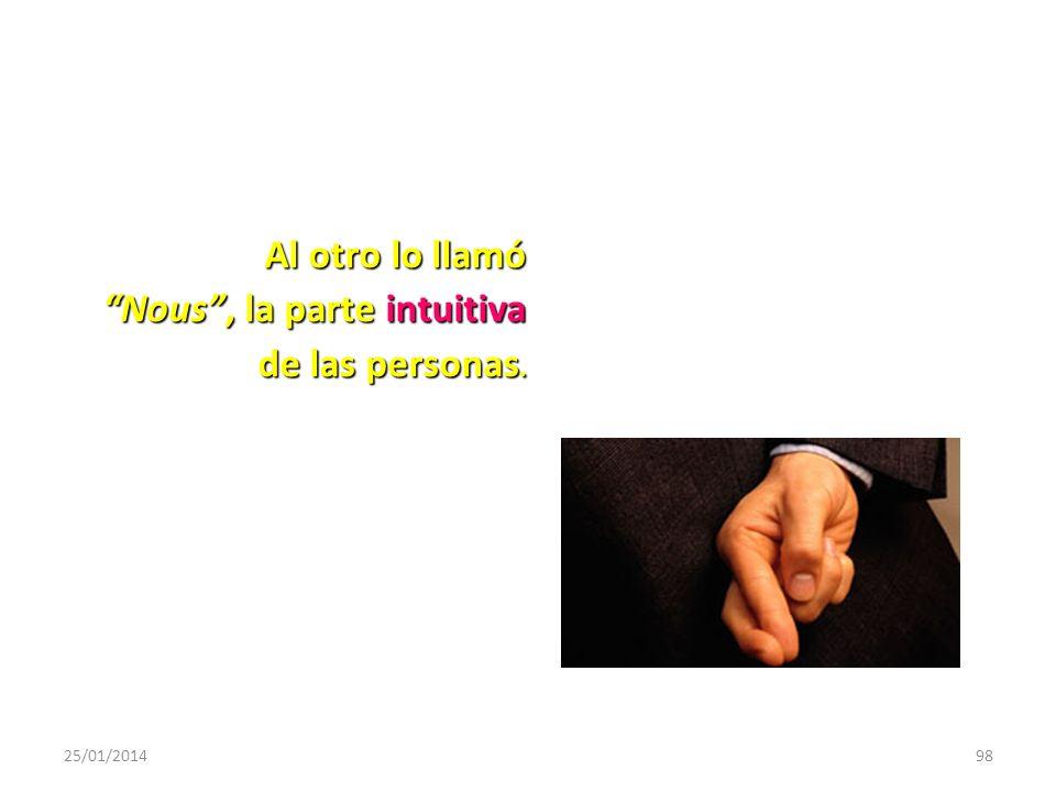 Al otro lo llamó Nous , la parte intuitiva de las personas.
