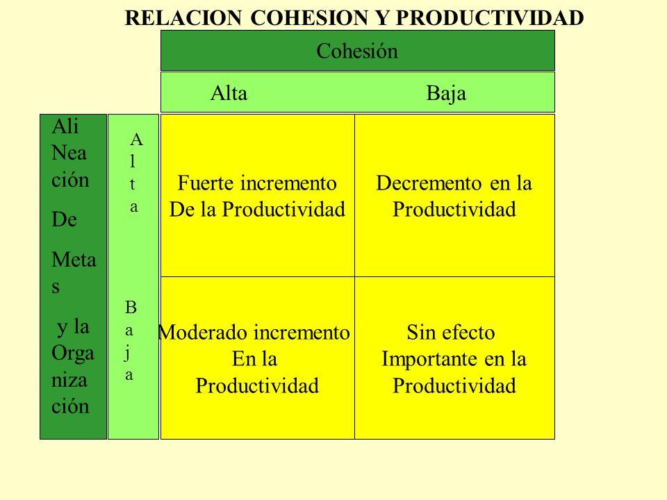RELACION COHESION Y PRODUCTIVIDAD