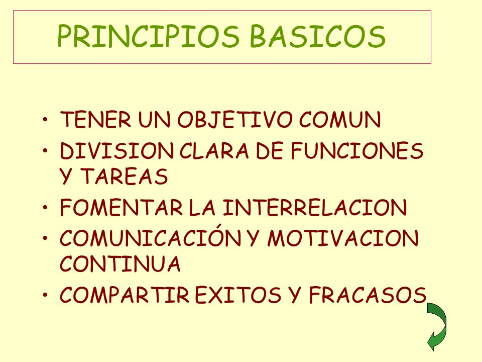 PRINCIPIOS BASICOS TENER UN OBJETIVO COMUN
