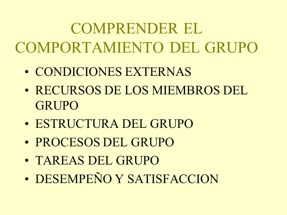COMPRENDER EL COMPORTAMIENTO DEL GRUPO
