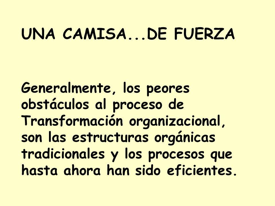 UNA CAMISA...DE FUERZA Generalmente, los peores obstáculos al proceso de. Transformación organizacional, son las estructuras orgánicas.