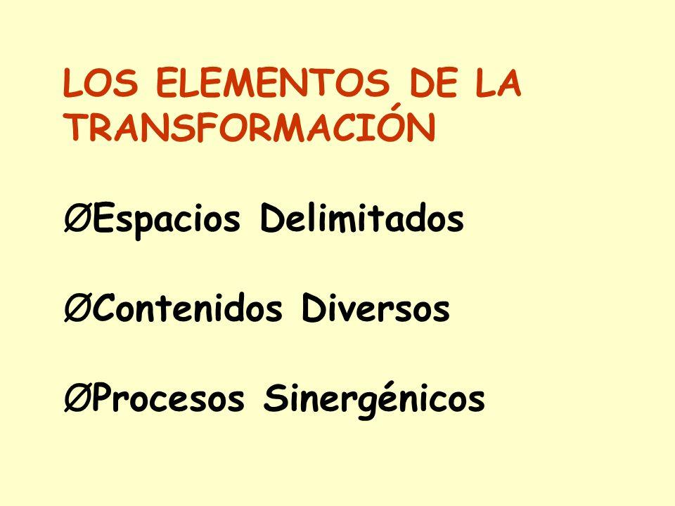 LOS ELEMENTOS DE LA TRANSFORMACIÓN. ØEspacios Delimitados.