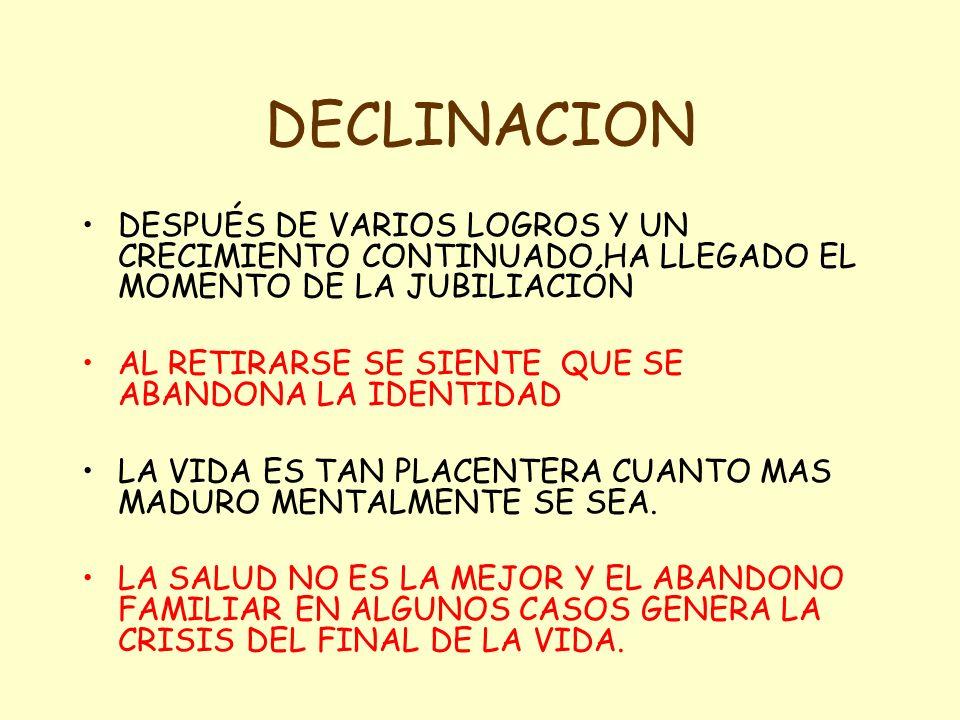 DECLINACION DESPUÉS DE VARIOS LOGROS Y UN CRECIMIENTO CONTINUADO HA LLEGADO EL MOMENTO DE LA JUBILIACIÓN.