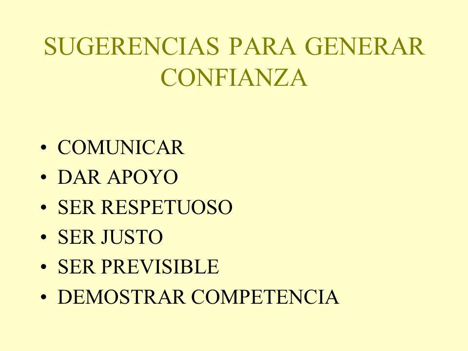 SUGERENCIAS PARA GENERAR CONFIANZA