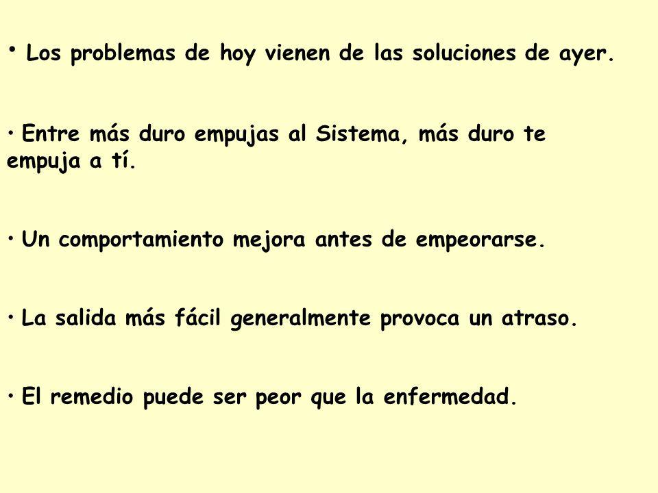 • Los problemas de hoy vienen de las soluciones de ayer.
