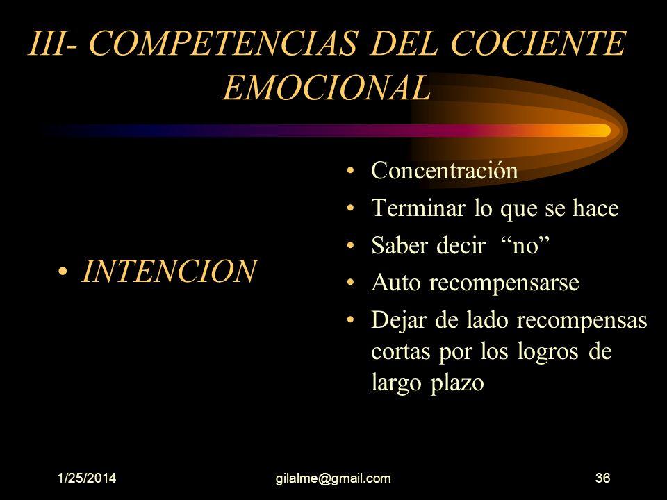 III- COMPETENCIAS DEL COCIENTE EMOCIONAL