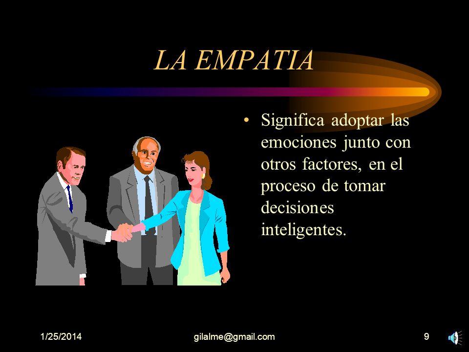 LA EMPATIA Significa adoptar las emociones junto con otros factores, en el proceso de tomar decisiones inteligentes.