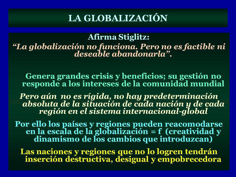 LA GLOBALIZACIÓN Afirma Stiglitz: