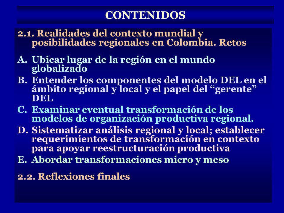 CONTENIDOS 2.1. Realidades del contexto mundial y posibilidades regionales en Colombia. Retos. Ubicar lugar de la región en el mundo globalizado.