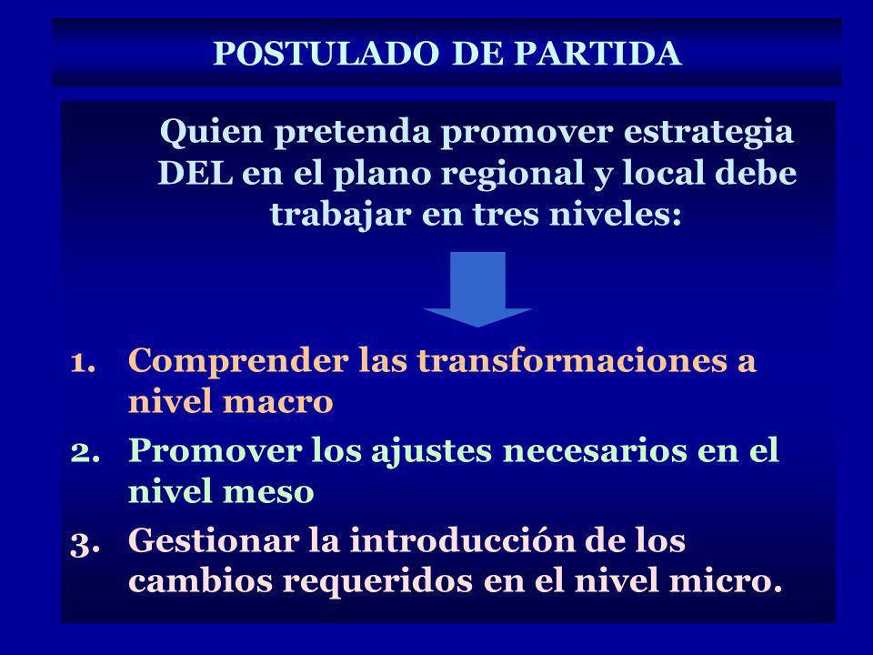 POSTULADO DE PARTIDA Quien pretenda promover estrategia DEL en el plano regional y local debe trabajar en tres niveles: