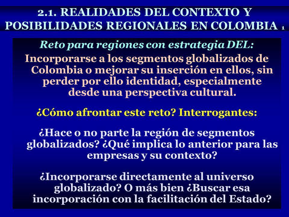 2.1. REALIDADES DEL CONTEXTO Y POSIBILIDADES REGIONALES EN COLOMBIA 1