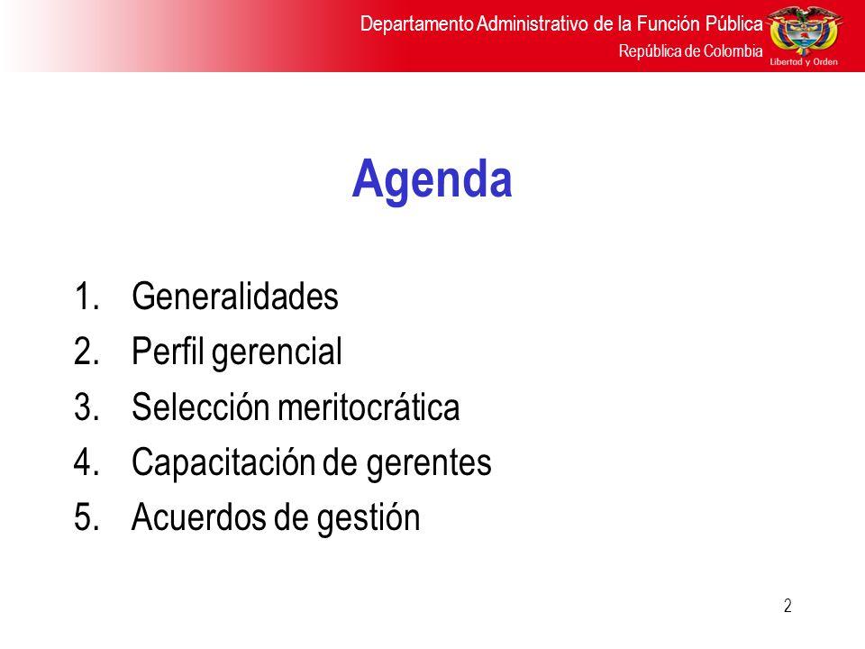 Agenda Generalidades Perfil gerencial Selección meritocrática