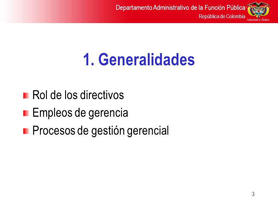 1. Generalidades Rol de los directivos Empleos de gerencia