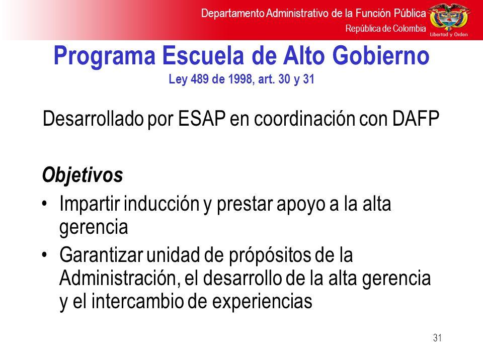 Programa Escuela de Alto Gobierno Ley 489 de 1998, art. 30 y 31