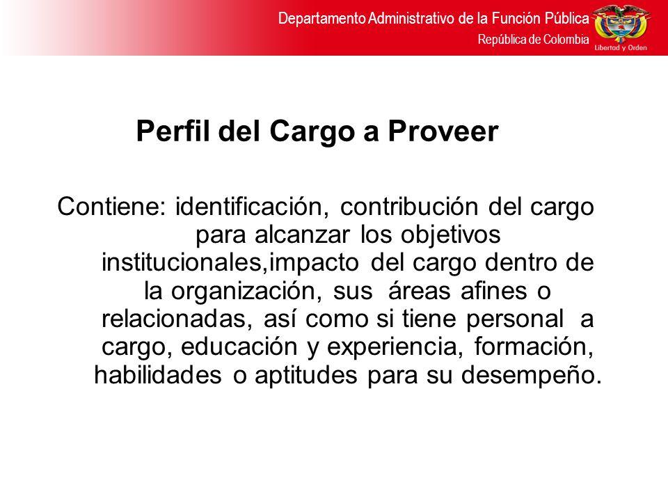 Perfil del Cargo a Proveer