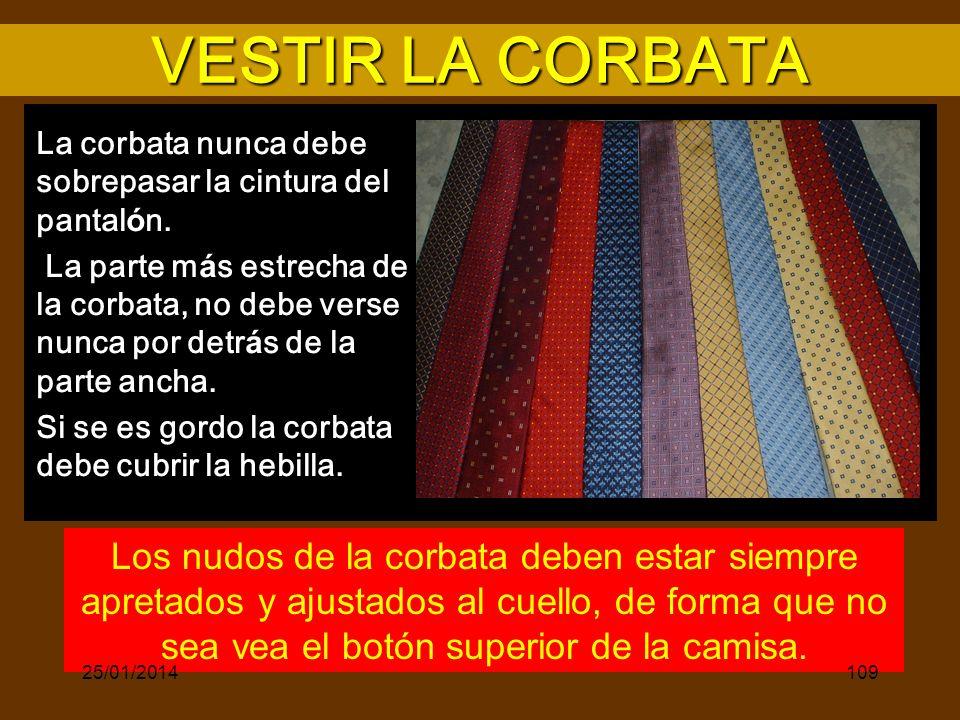 VESTIR LA CORBATA La corbata nunca debe sobrepasar la cintura del pantalón.
