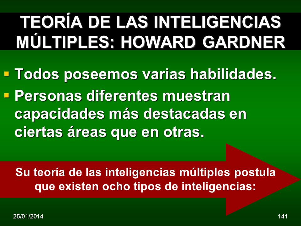 TEORÍA DE LAS INTELIGENCIAS MÚLTIPLES: HOWARD GARDNER