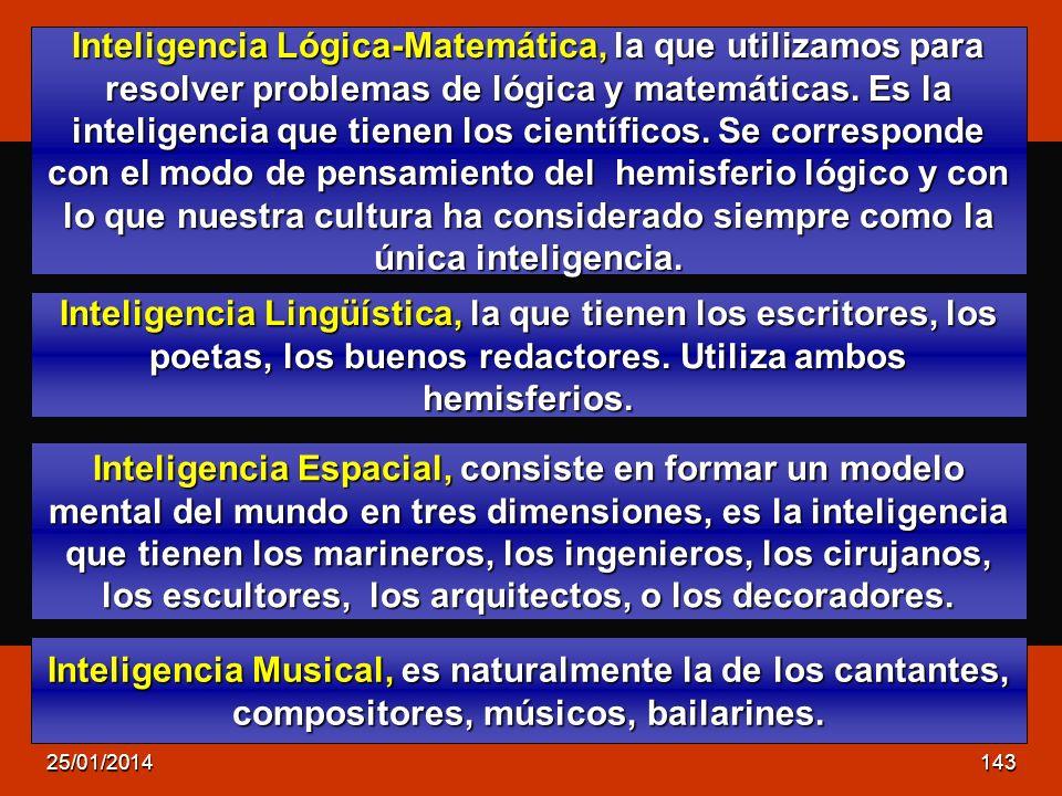 Inteligencia Lógica-Matemática, la que utilizamos para resolver problemas de lógica y matemáticas. Es la inteligencia que tienen los científicos. Se corresponde con el modo de pensamiento del hemisferio lógico y con lo que nuestra cultura ha considerado siempre como la única inteligencia.