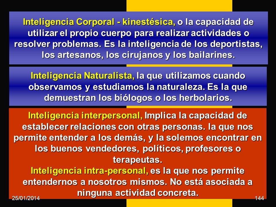 Inteligencia Corporal - kinestésica, o la capacidad de utilizar el propio cuerpo para realizar actividades o resolver problemas. Es la inteligencia de los deportistas, los artesanos, los cirujanos y los bailarines.