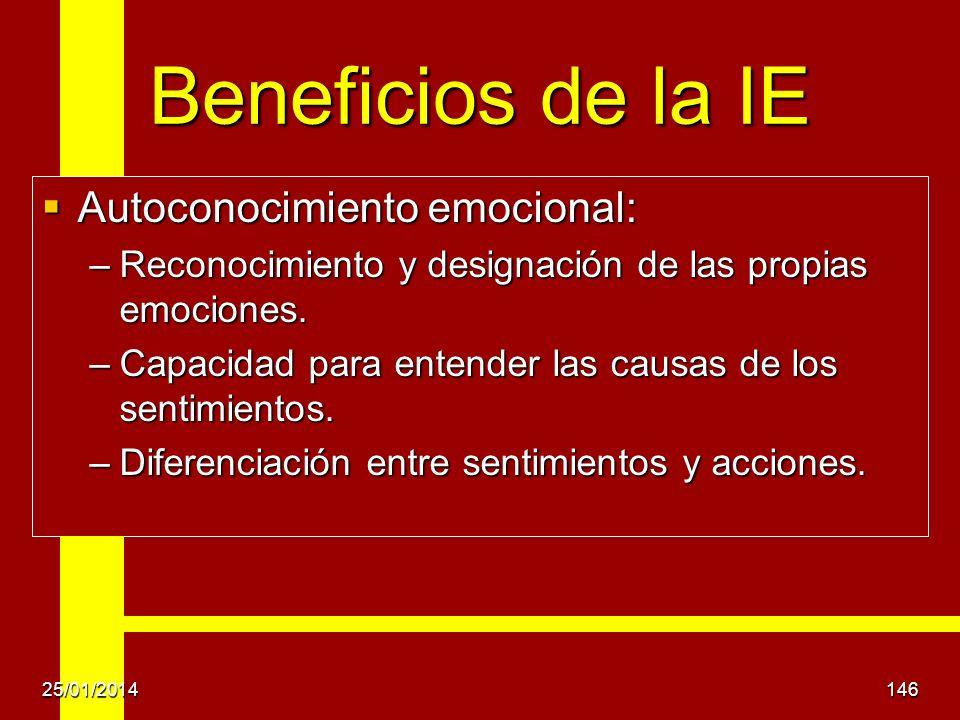 Beneficios de la IE Autoconocimiento emocional: