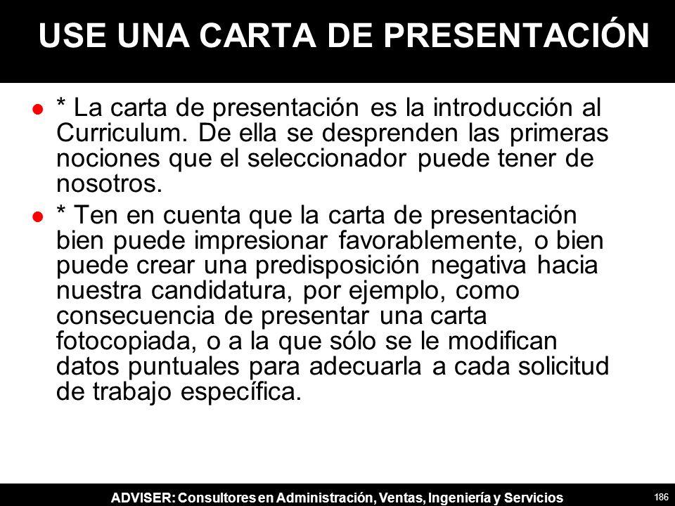 USE UNA CARTA DE PRESENTACIÓN