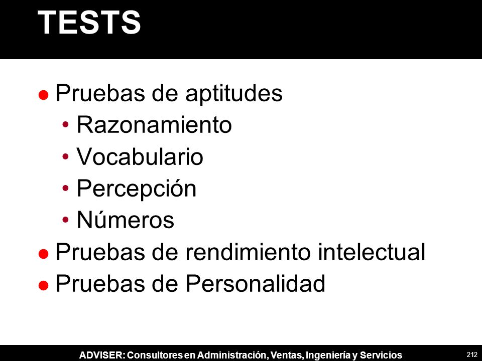 TESTS Pruebas de aptitudes Razonamiento Vocabulario Percepción Números