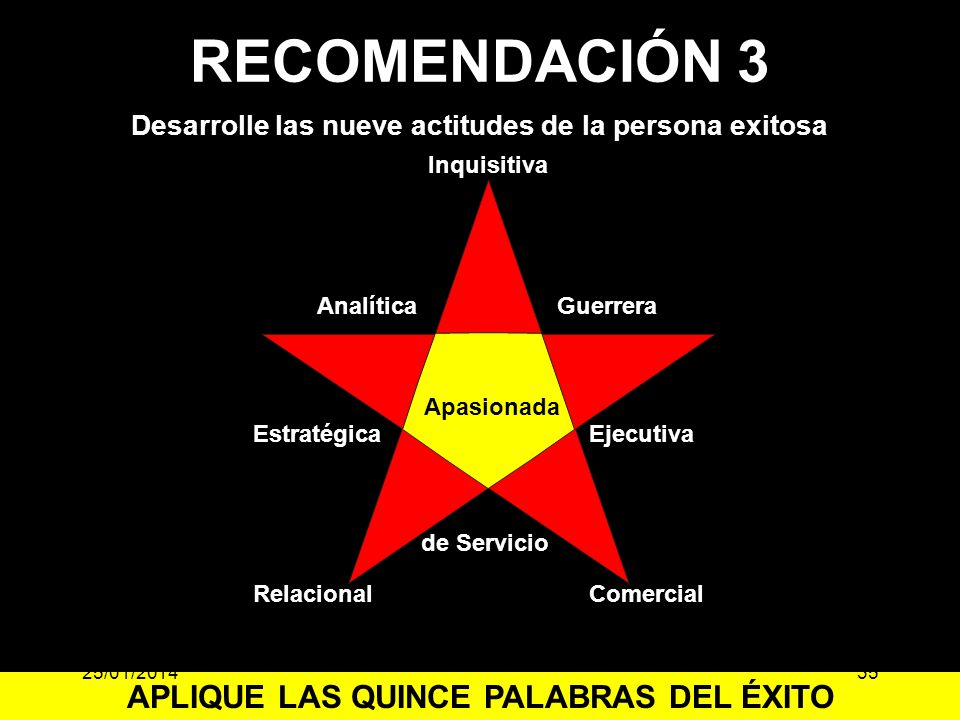 RECOMENDACIÓN 3 APLIQUE LAS QUINCE PALABRAS DEL ÉXITO