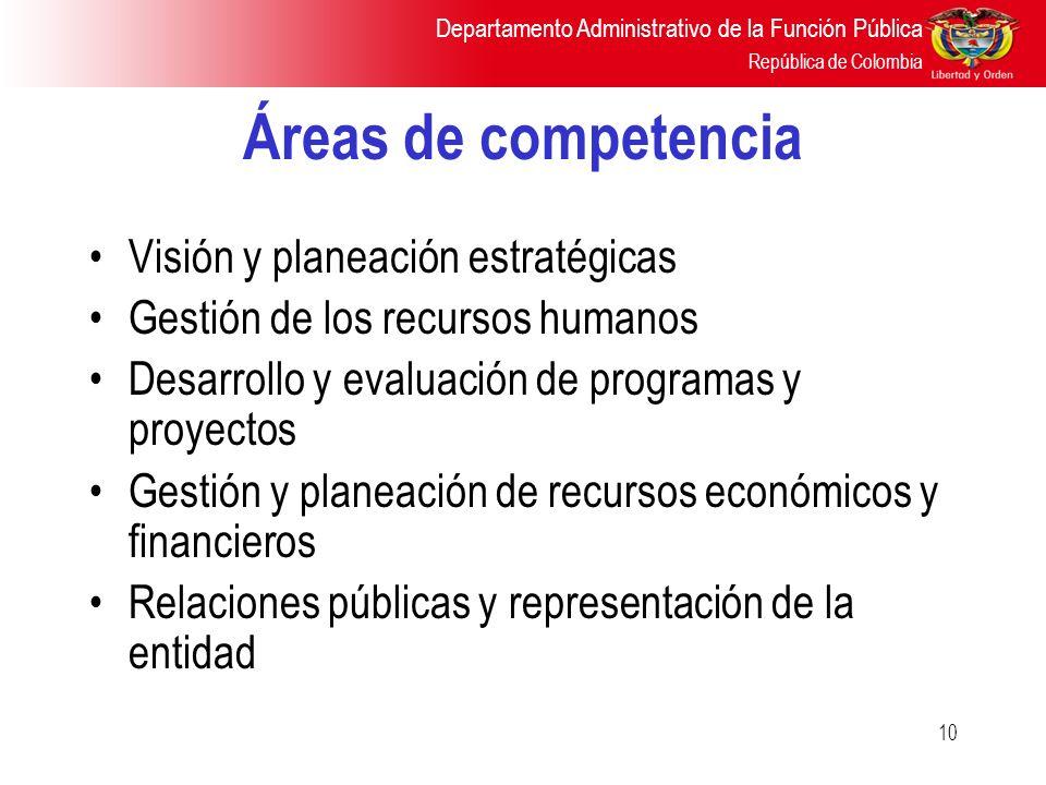 Áreas de competencia Visión y planeación estratégicas