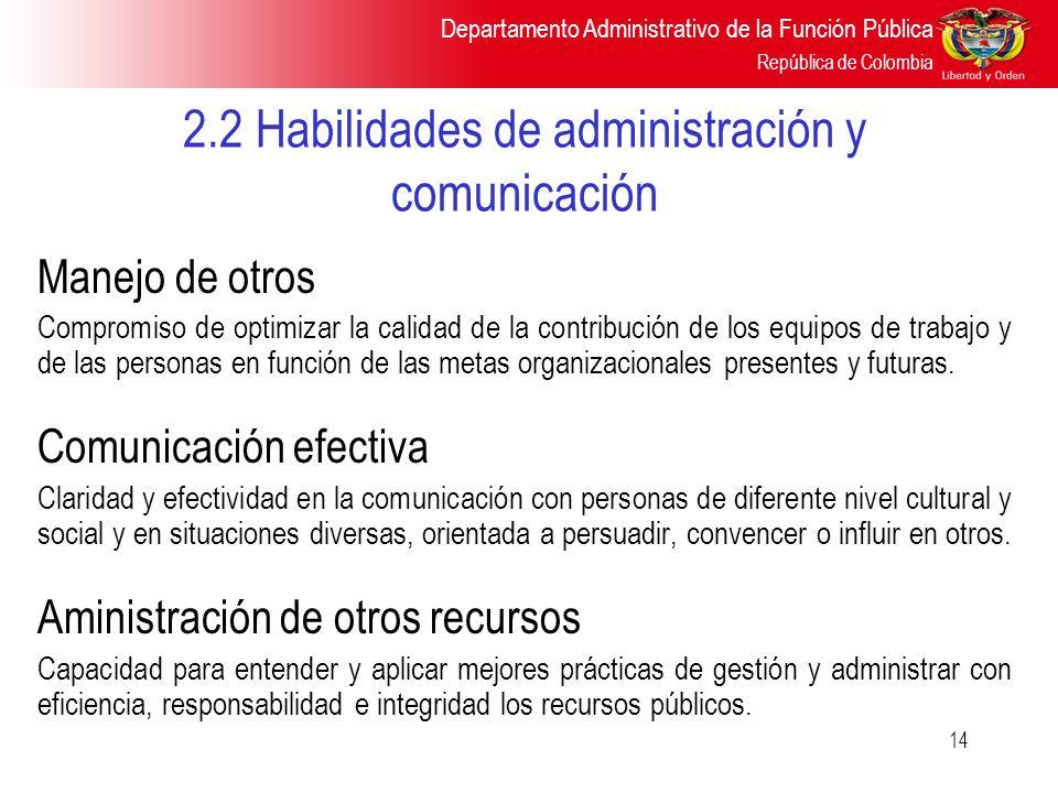 2.2 Habilidades de administración y comunicación