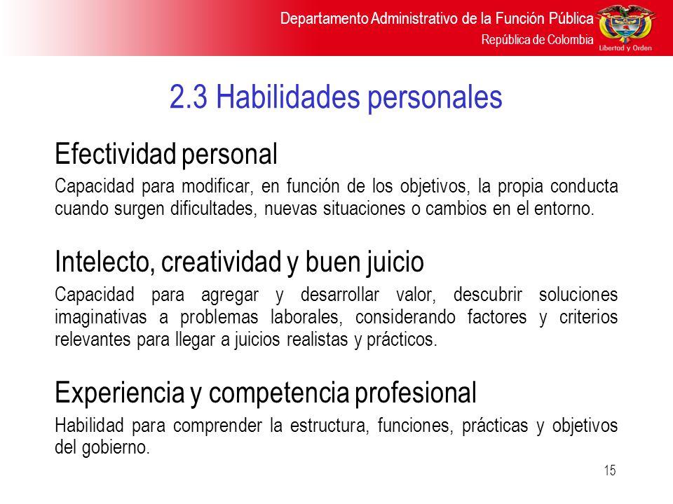 2.3 Habilidades personales