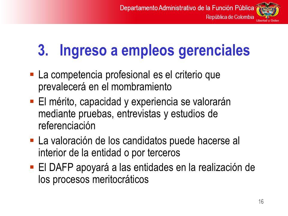 3. Ingreso a empleos gerenciales