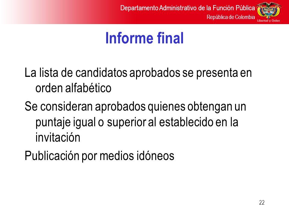 Informe final La lista de candidatos aprobados se presenta en orden alfabético.