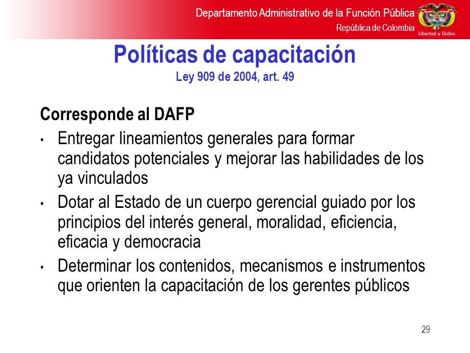 Políticas de capacitación Ley 909 de 2004, art. 49