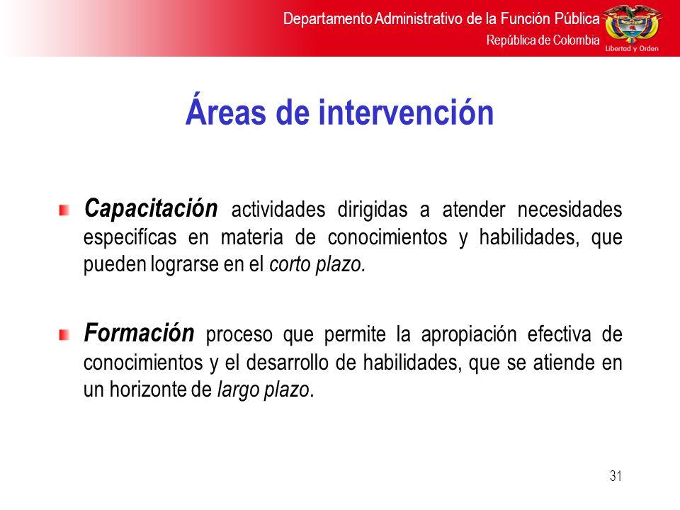 Áreas de intervención