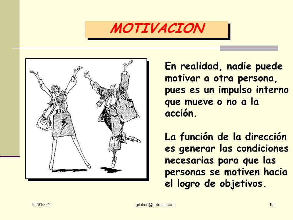 MOTIVACION En realidad, nadie puede motivar a otra persona, pues es un impulso interno que mueve o no a la acción.