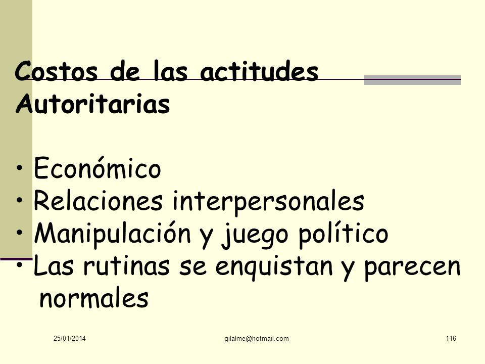 Costos de las actitudes Autoritarias • Económico