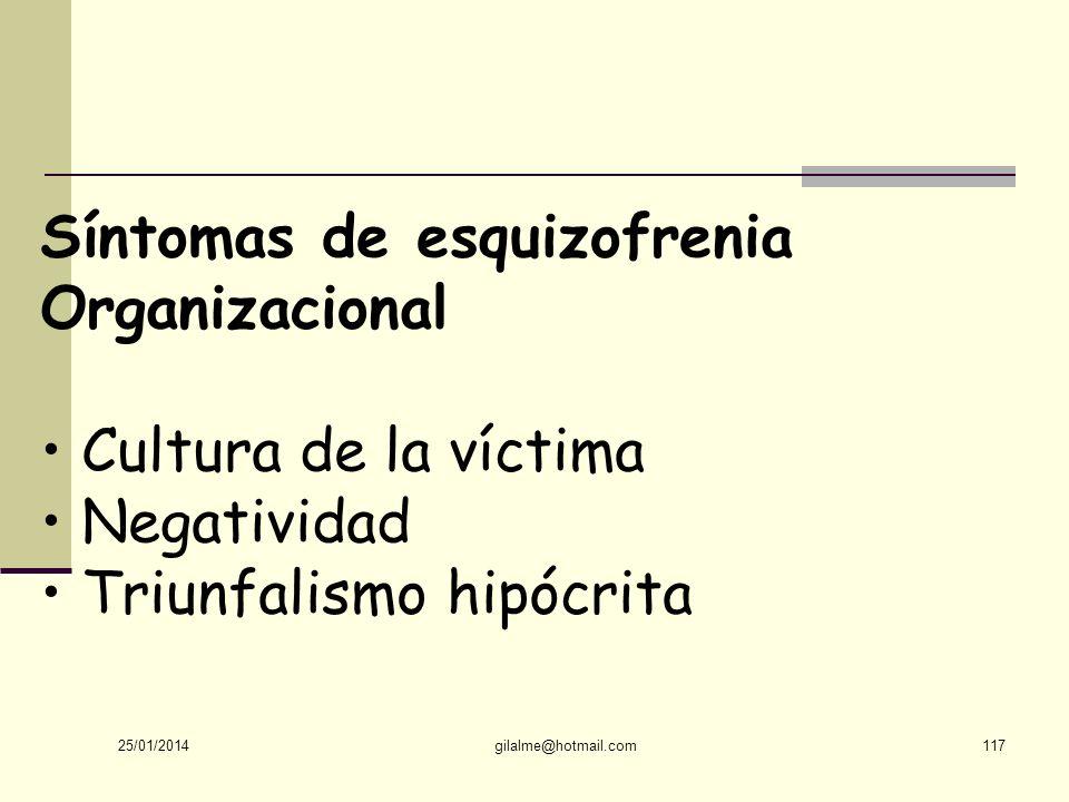Síntomas de esquizofrenia Organizacional • Cultura de la víctima
