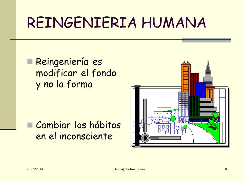REINGENIERIA HUMANA Reingeniería es modificar el fondo y no la forma