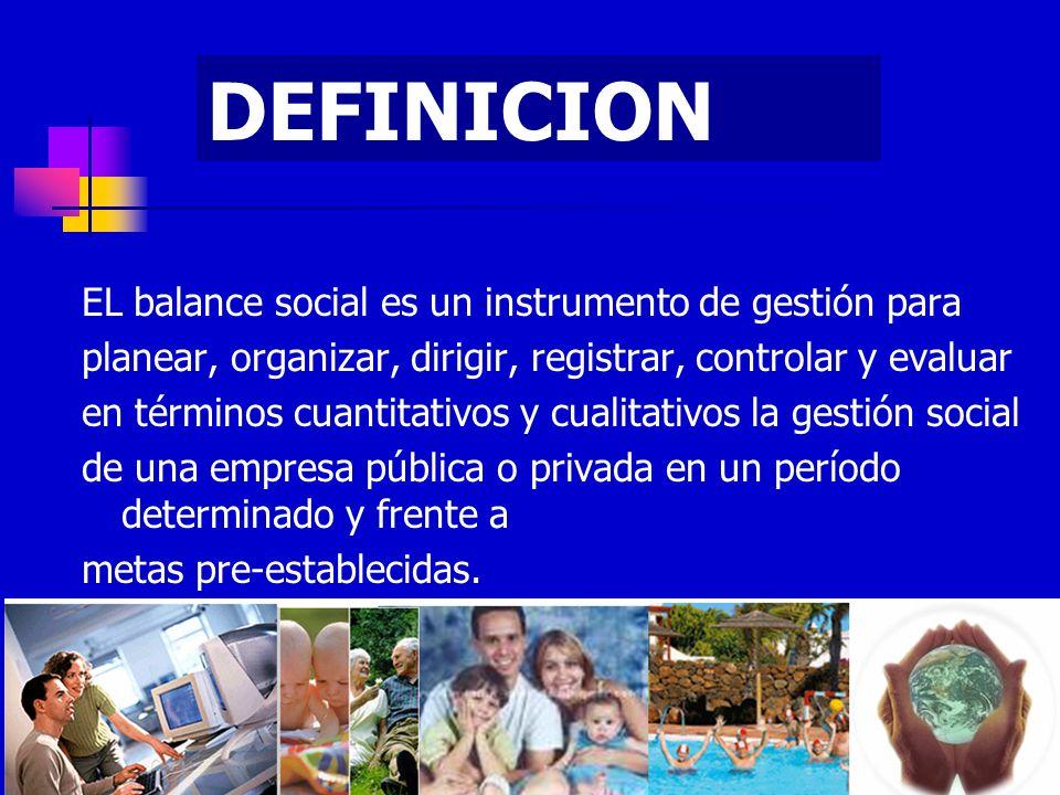 DEFINICION EL balance social es un instrumento de gestión para