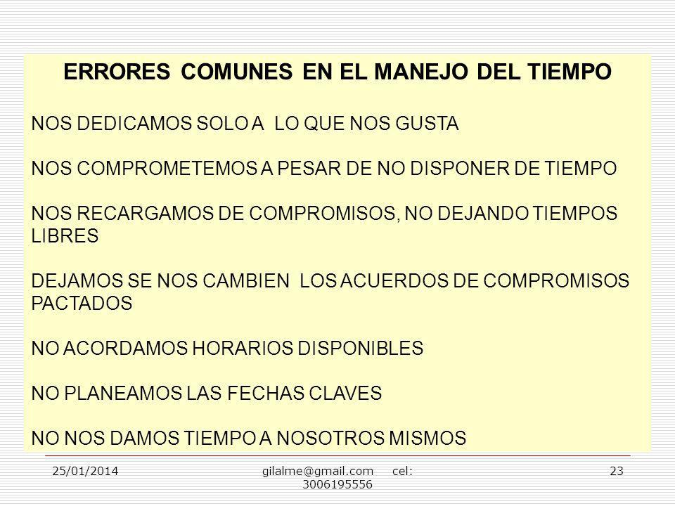 ERRORES COMUNES EN EL MANEJO DEL TIEMPO