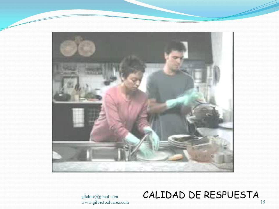 CALIDAD DE RESPUESTA gilalme@gmail.com www.gilbertoalvarez.com