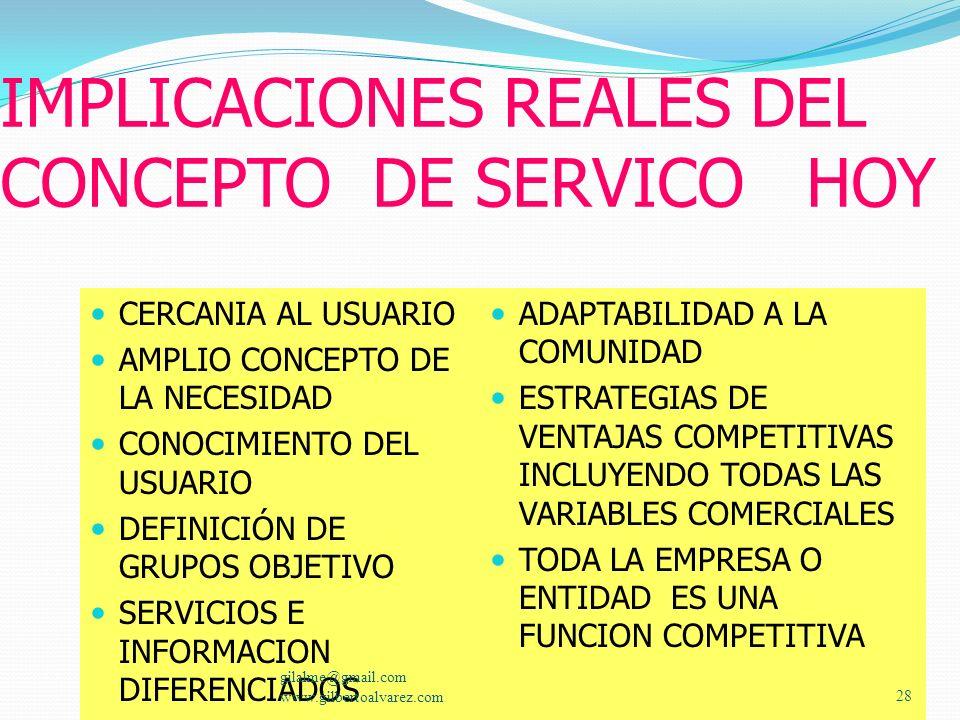 IMPLICACIONES REALES DEL CONCEPTO DE SERVICO HOY