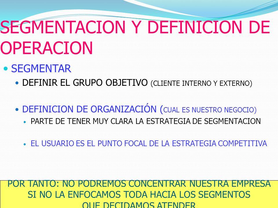 SEGMENTACION Y DEFINICION DE OPERACION
